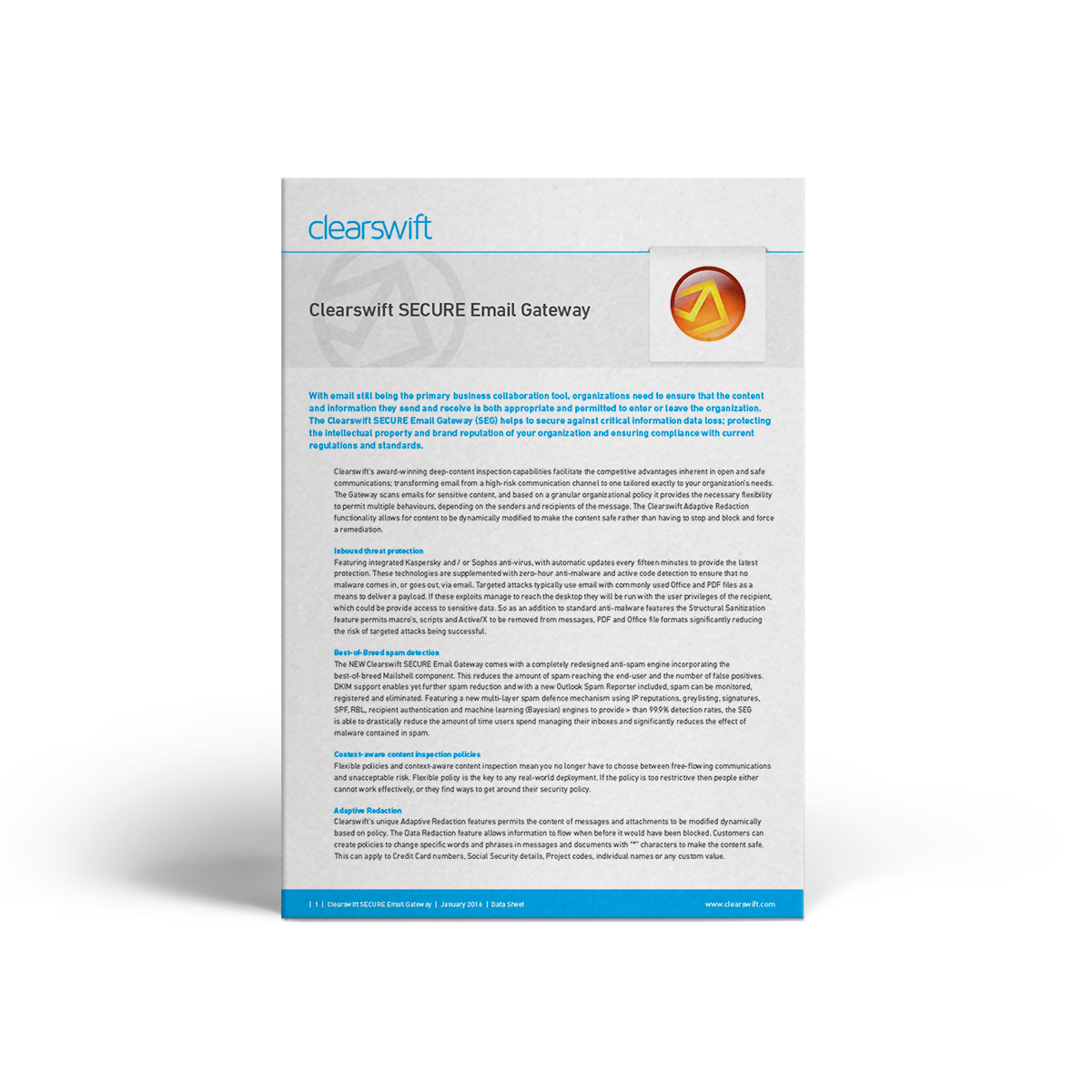 Clearswift SECURE Email Gateway datasheet
